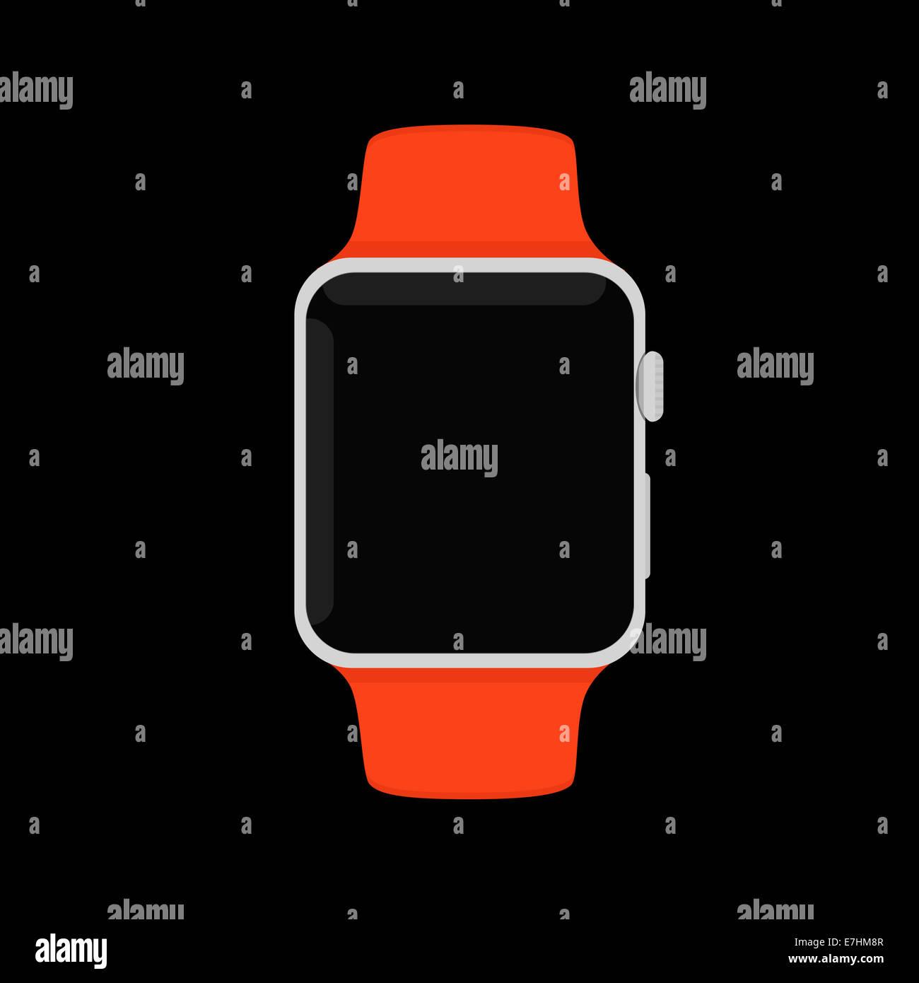 Red Apple Watch Sport, flat design illustration. - Stock Image