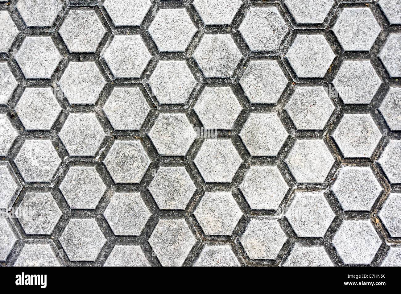 background of floor with paving stones and hexagon shapes - Stock Image