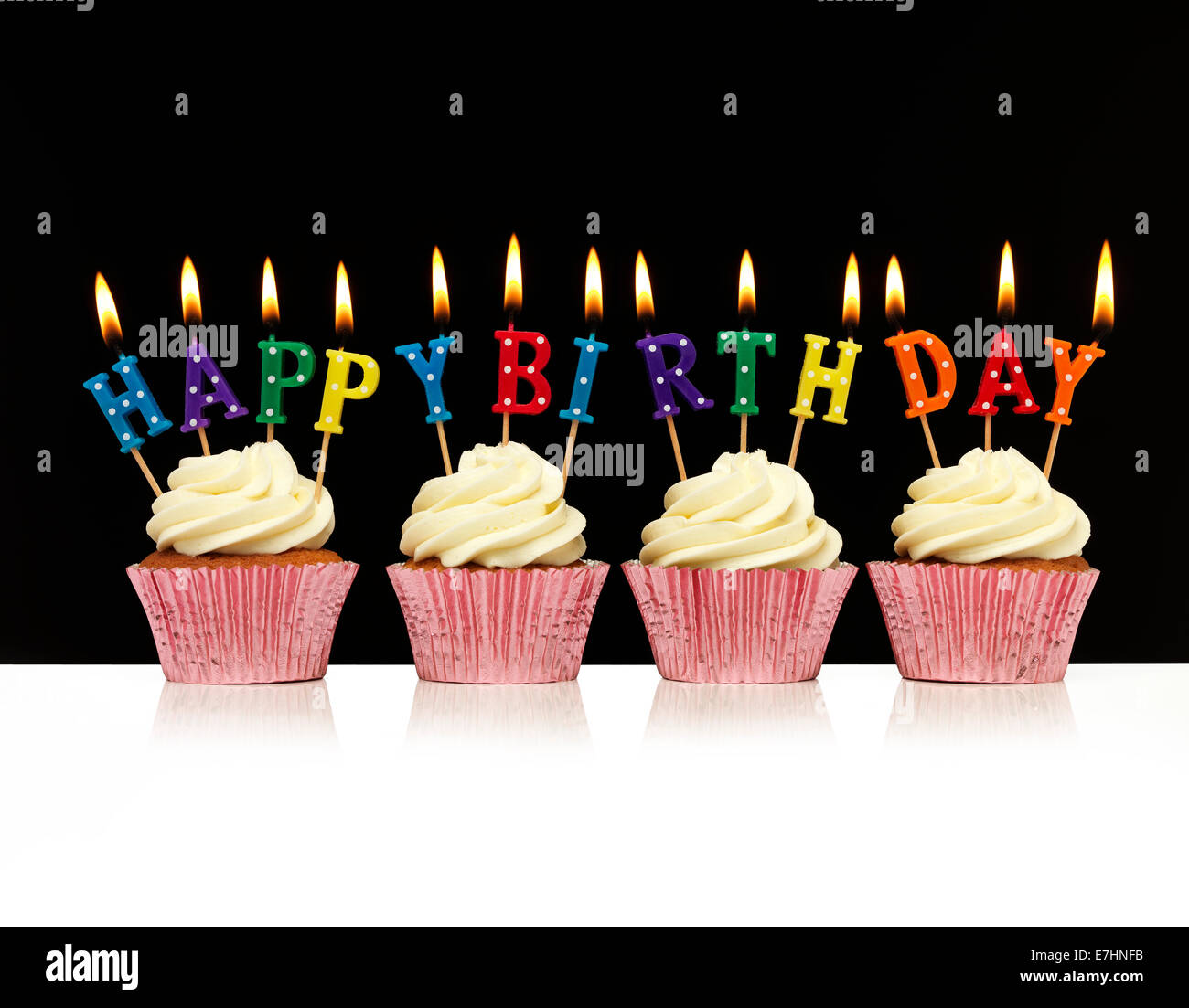 Cupcake With Happy Birthday Candles Stock Photo: 73534143