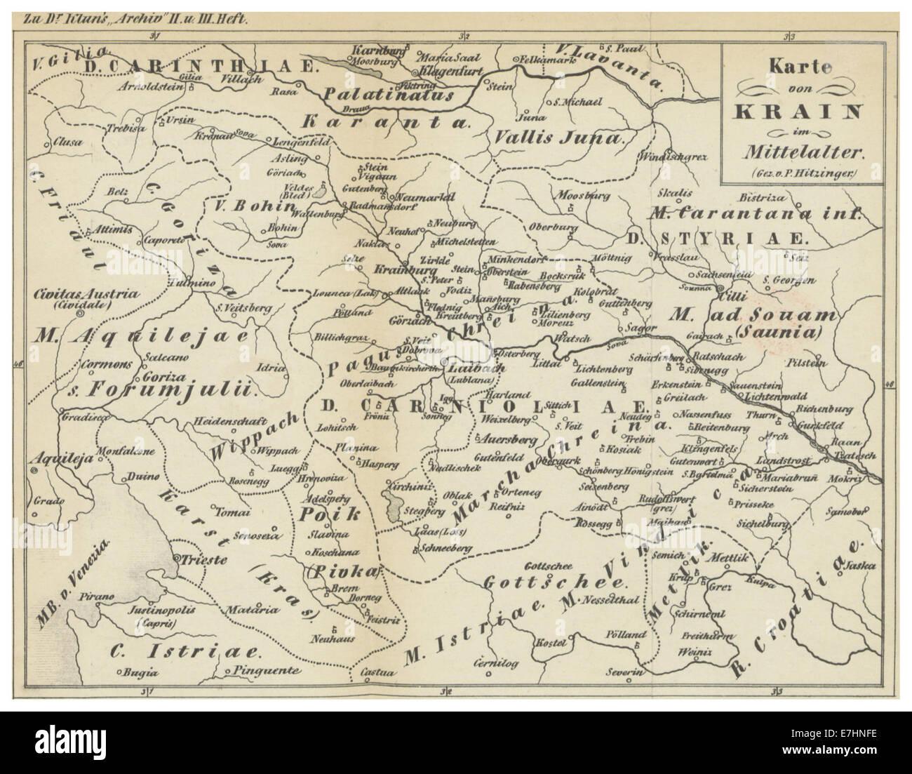 (1854) Karte von KRAIN im Mittelalter - Stock Image