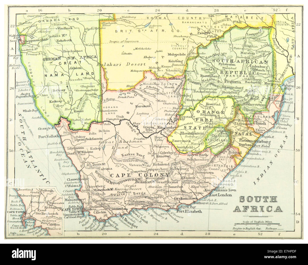 1899) MAP OF SOUTH AFRICA   comp. by Irvine Stock Photo: 73534875