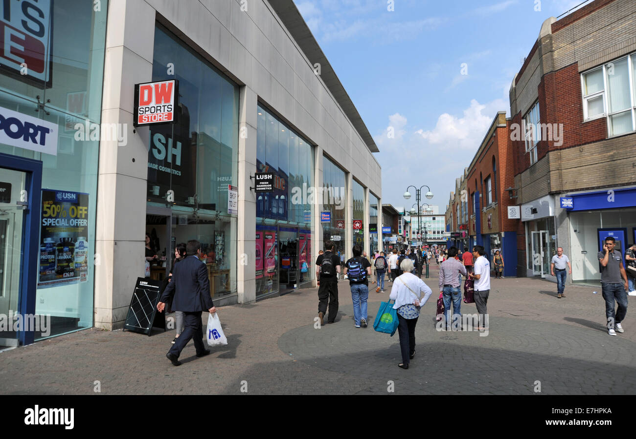 Crawley West Sussex UK - The old shopping centre precinct - Stock Image