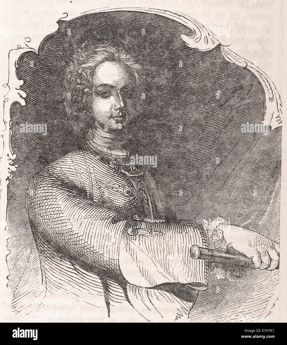 Portait of Cecil Calvert Second Lord Baltimore - Engraving - XIX th Century - Stock Image