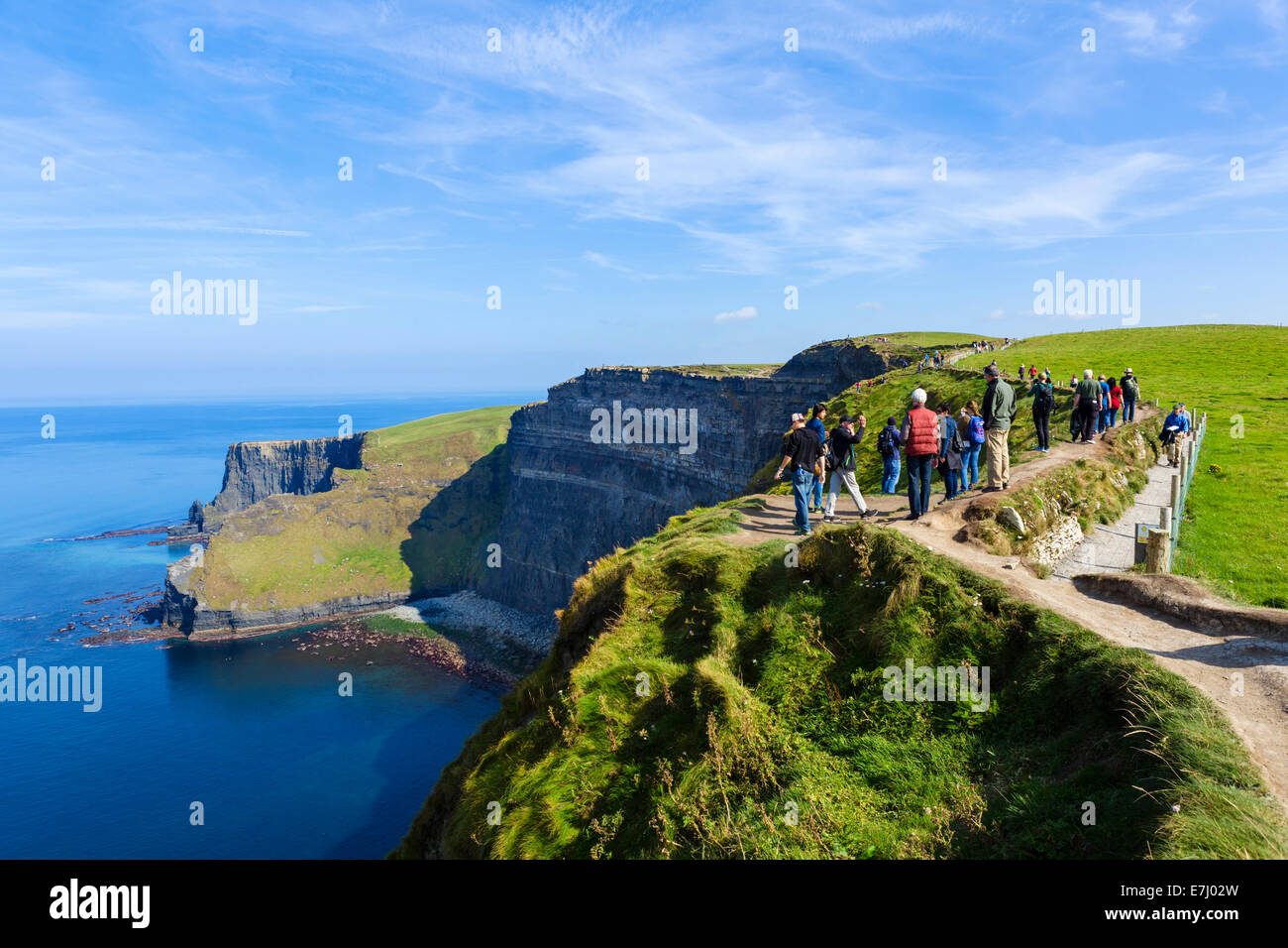 Tourists at the Cliffs of Moher, The Burren, County Clare, Republic of Ireland - Stock Image