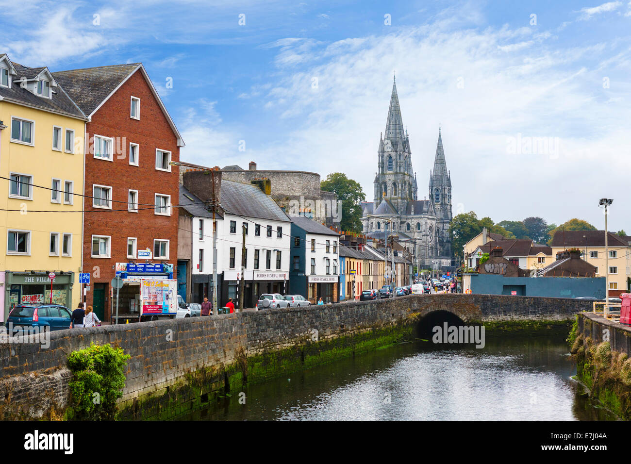 Cork, Ireland. Saint Fin Barre's Cathedral and the River Lee, Cork City, County Cork, Republic of Ireland - Stock Image