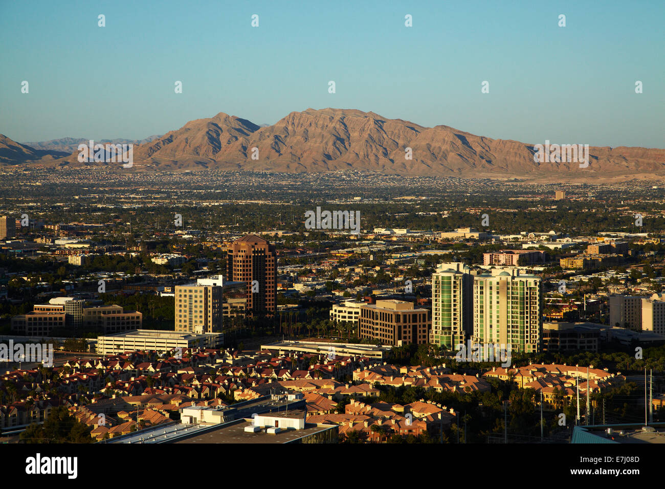 Las Vegas and Frenchman Mountain seen from Eiffel Tower replica at Paris Hotel and Casino, Las Vegas, Nevada, USA - Stock Image