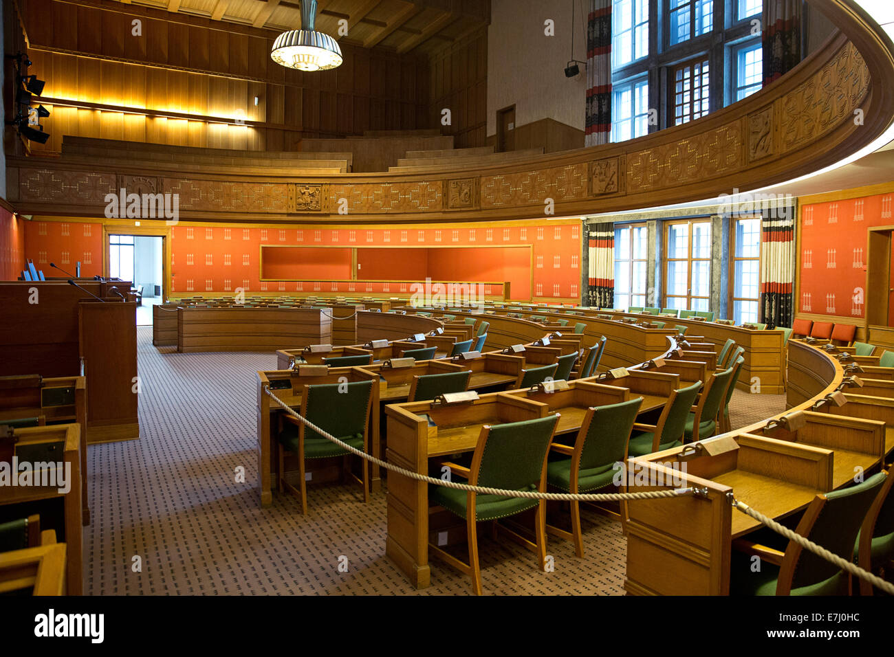 Oslo city Hall. The City Council chambers. Oslo, Norway. - Stock Image