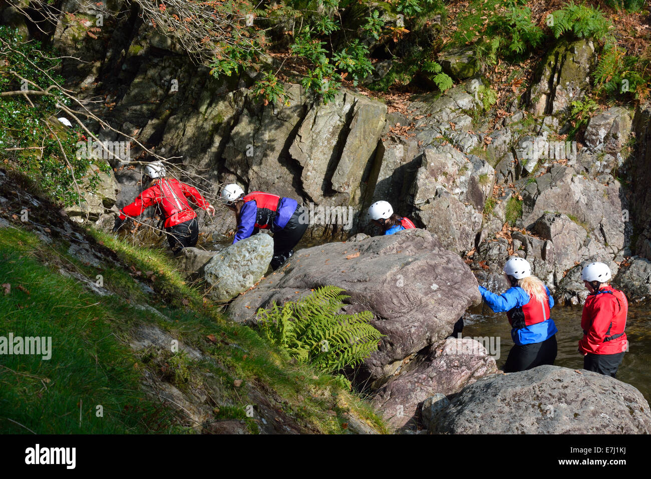 People ghyll scrambling in the Lake District, UK - Stock Image