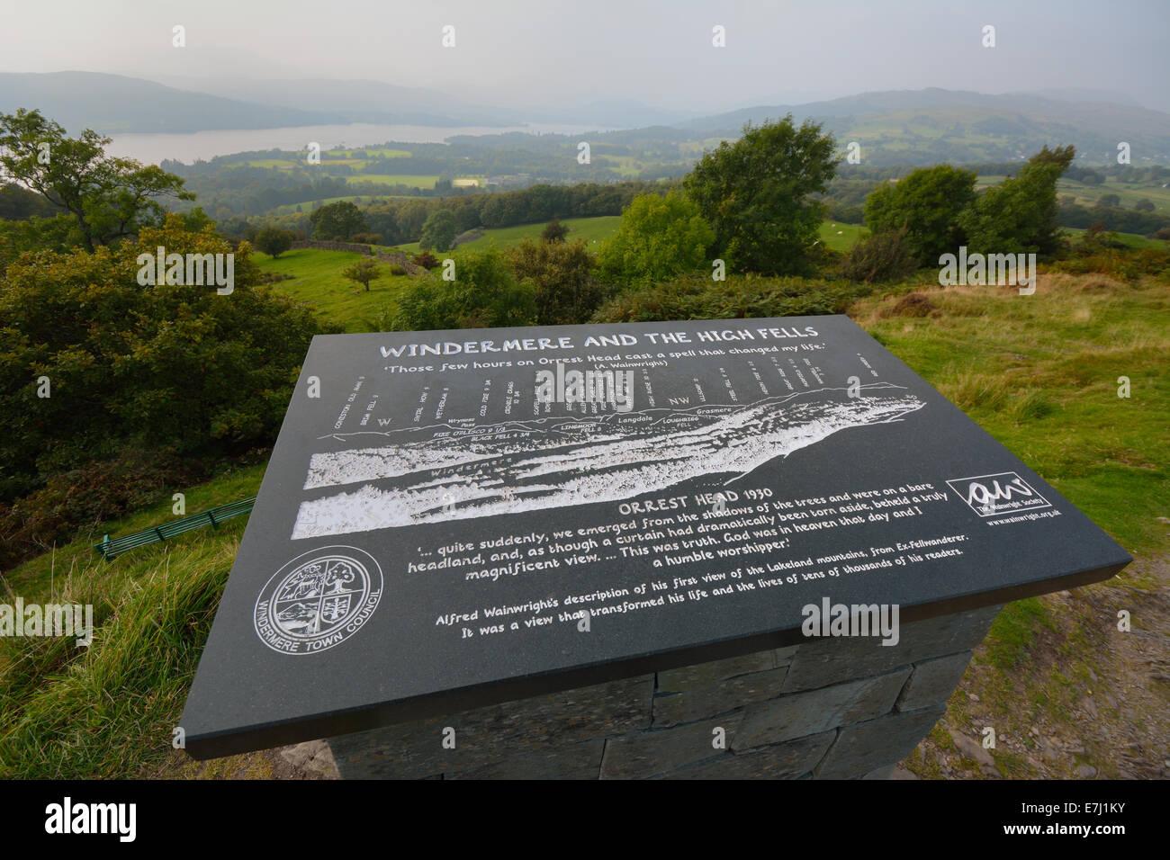 Orrest Head viewpoint, Windermere, Cumbria, UK - Stock Image
