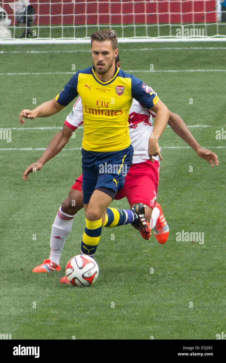 This image shows ArsenalFC midfielder Jack Wilshere during a 2014 summer match-up against the New York Red Bulls - Stock Image
