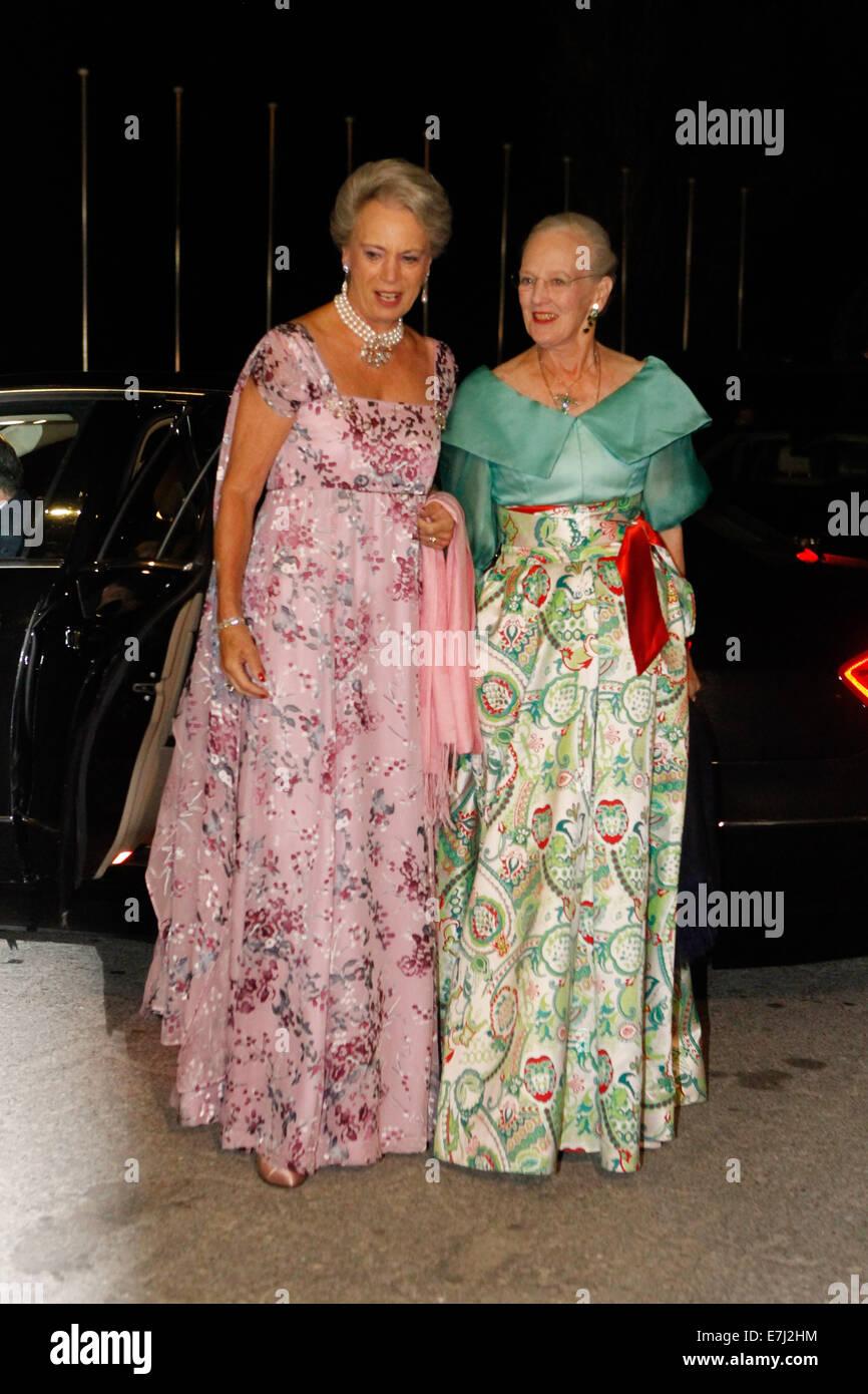 Piraeus, Greece. 18th Sep, 2014. Queen Margrethe II of Denmark with her sister Princess Benedikte of Denmark pose - Stock Image