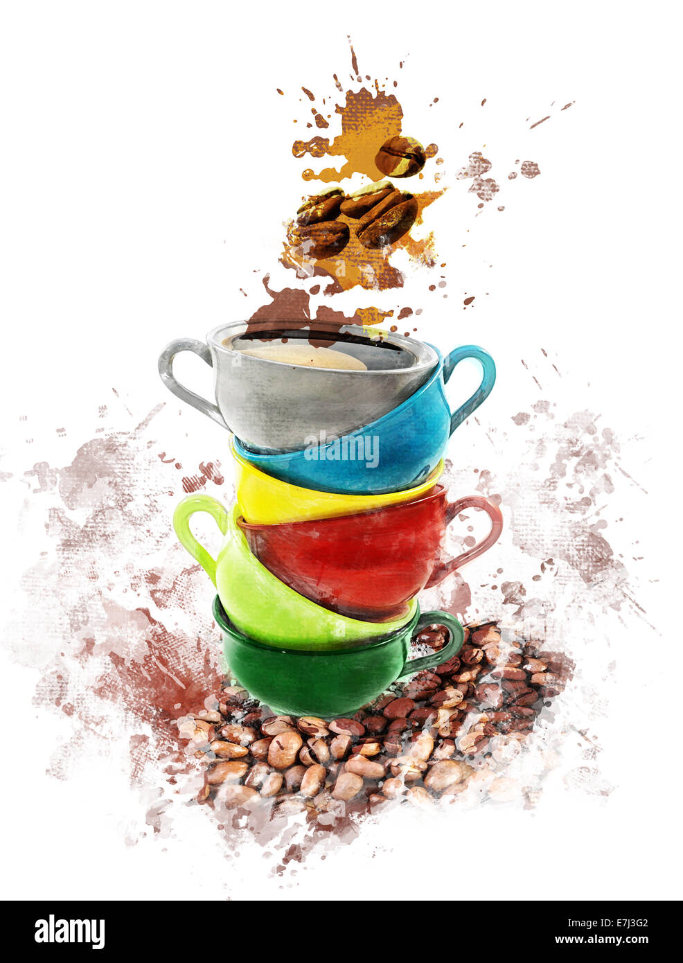 Watercolor Digital Painting Of Coffee Cups Stock Photo: 73542002 - Alamy