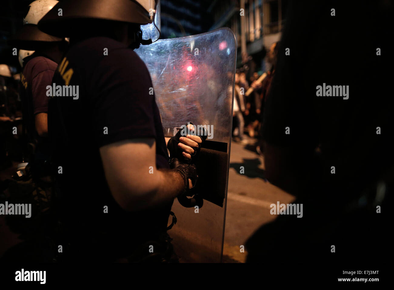 Keratsini, Greece. 18th September, 2014. Demonstration marking the one-year of the stabbing of 34 year old rapper - Stock Image