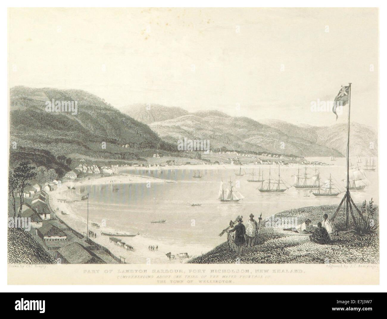 PETRE(1842) p044 PART OF LAMBTON HARBOUR, PORT NICHOLSON, NEW ZEALAND Stock Photo