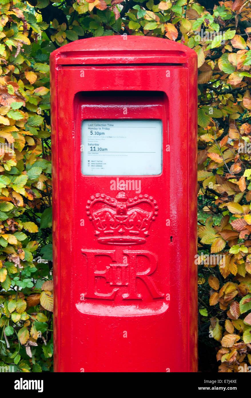 Bright Red British Post Box in Autumn, Hartford, Cheshire, England, UK Stock Photo