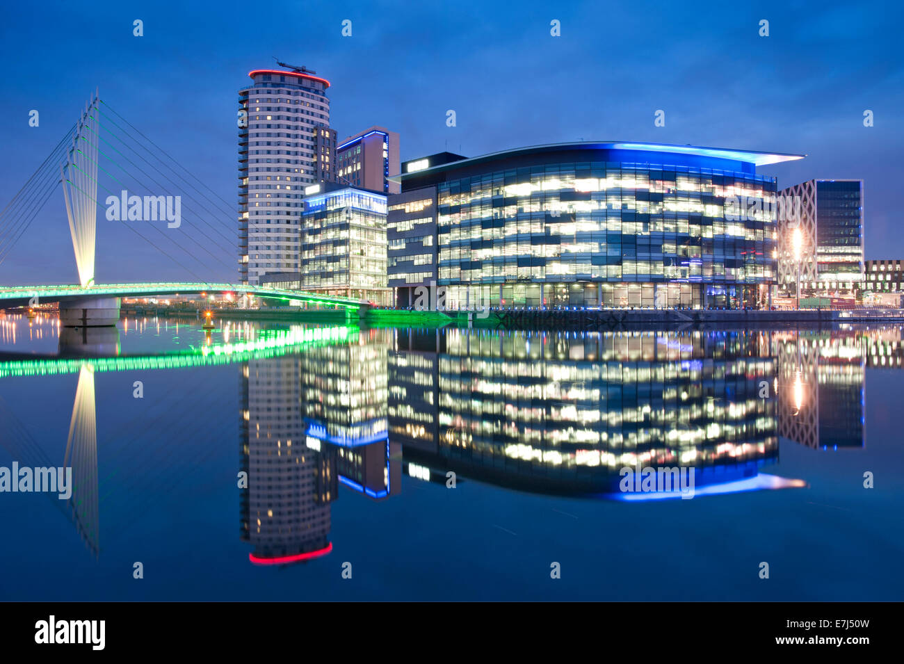 MediaCityUK and the BBC Studios at Night, Salford Quays, Greater Manchester, England, UK - Stock Image
