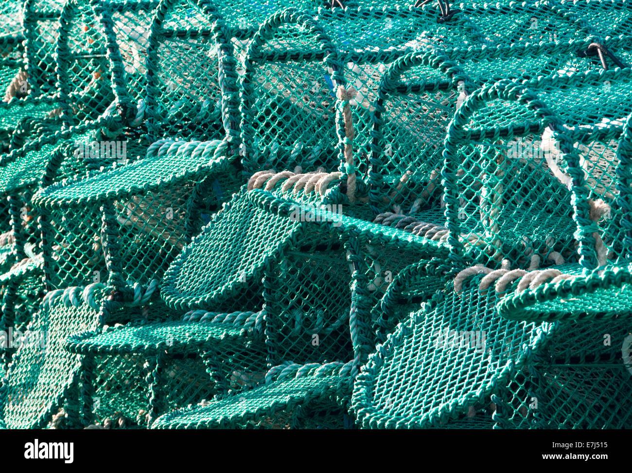 Lobster Pots on Lindisfarne or Holy Island, Northumberland, England, UK - Stock Image