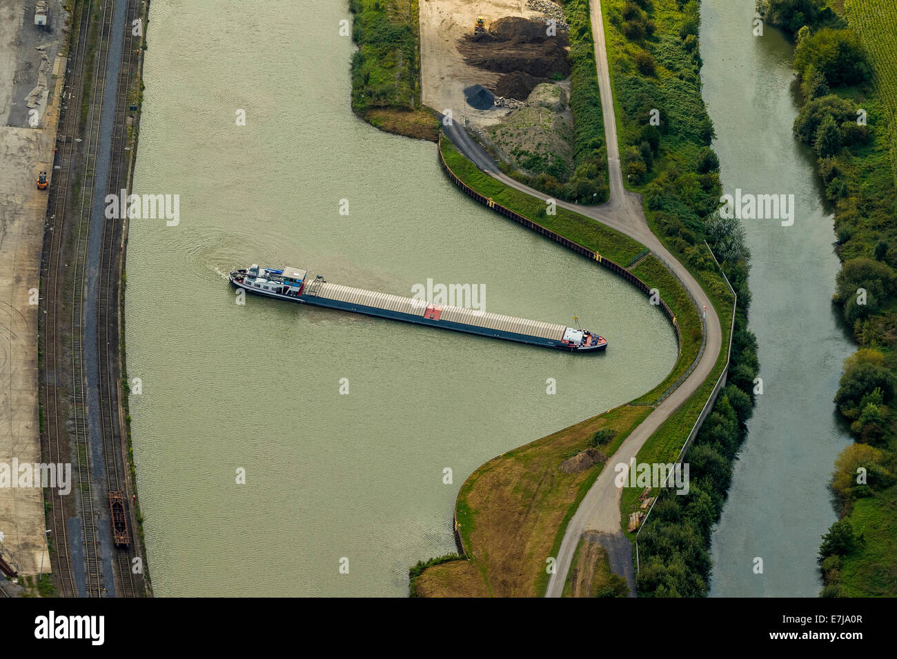 Aerial view, Datteln-Hamm Canal with ship turning basin, Lippe river, Hamm Port, Hamm, Ruhr district, North Rhine - Stock Image