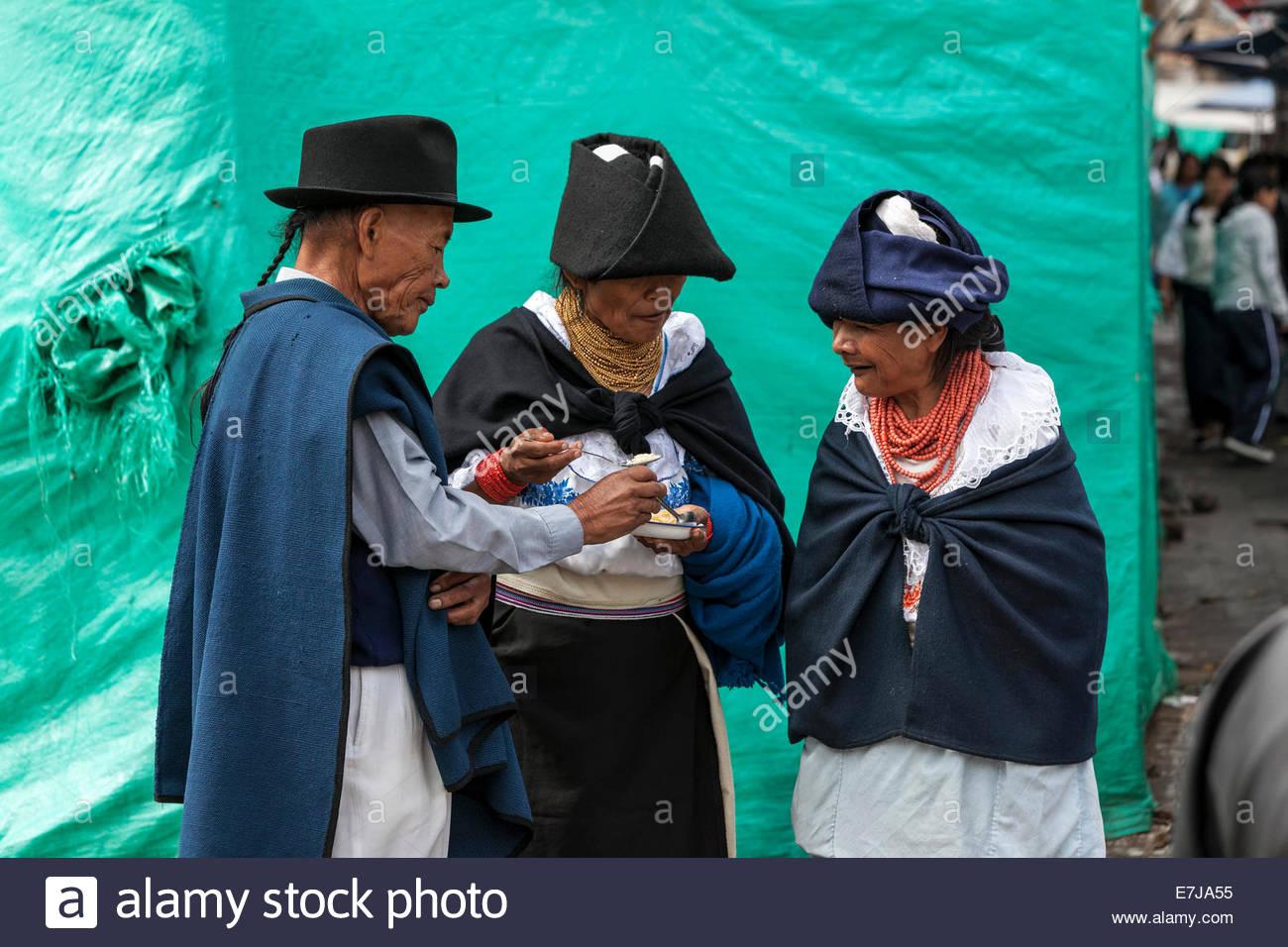 Indigenous people in Otavalo, Ecuador - Stock Image