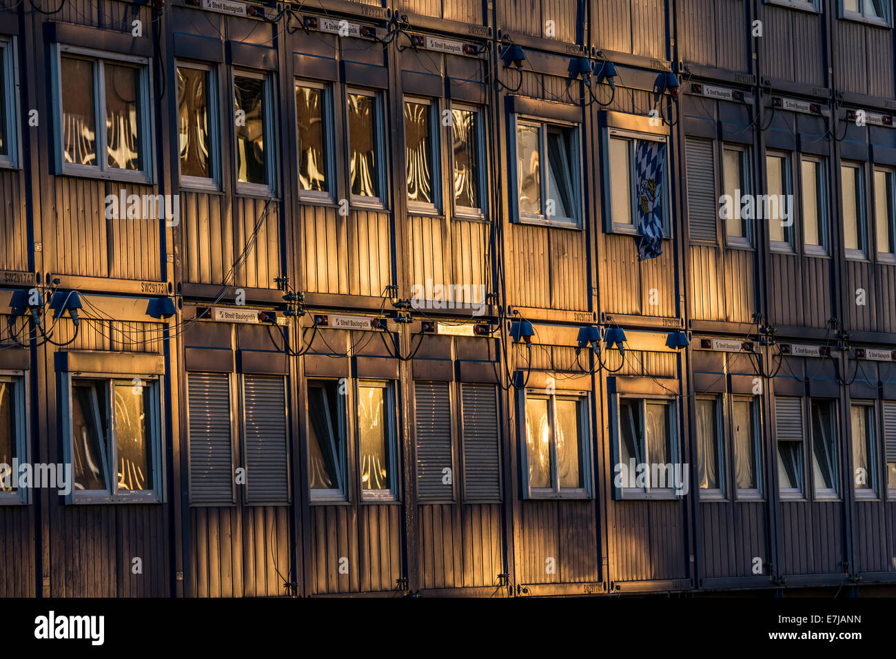 Portakabins or portacabins, HafenCity quarter, Hamburg, Germany - Stock Image