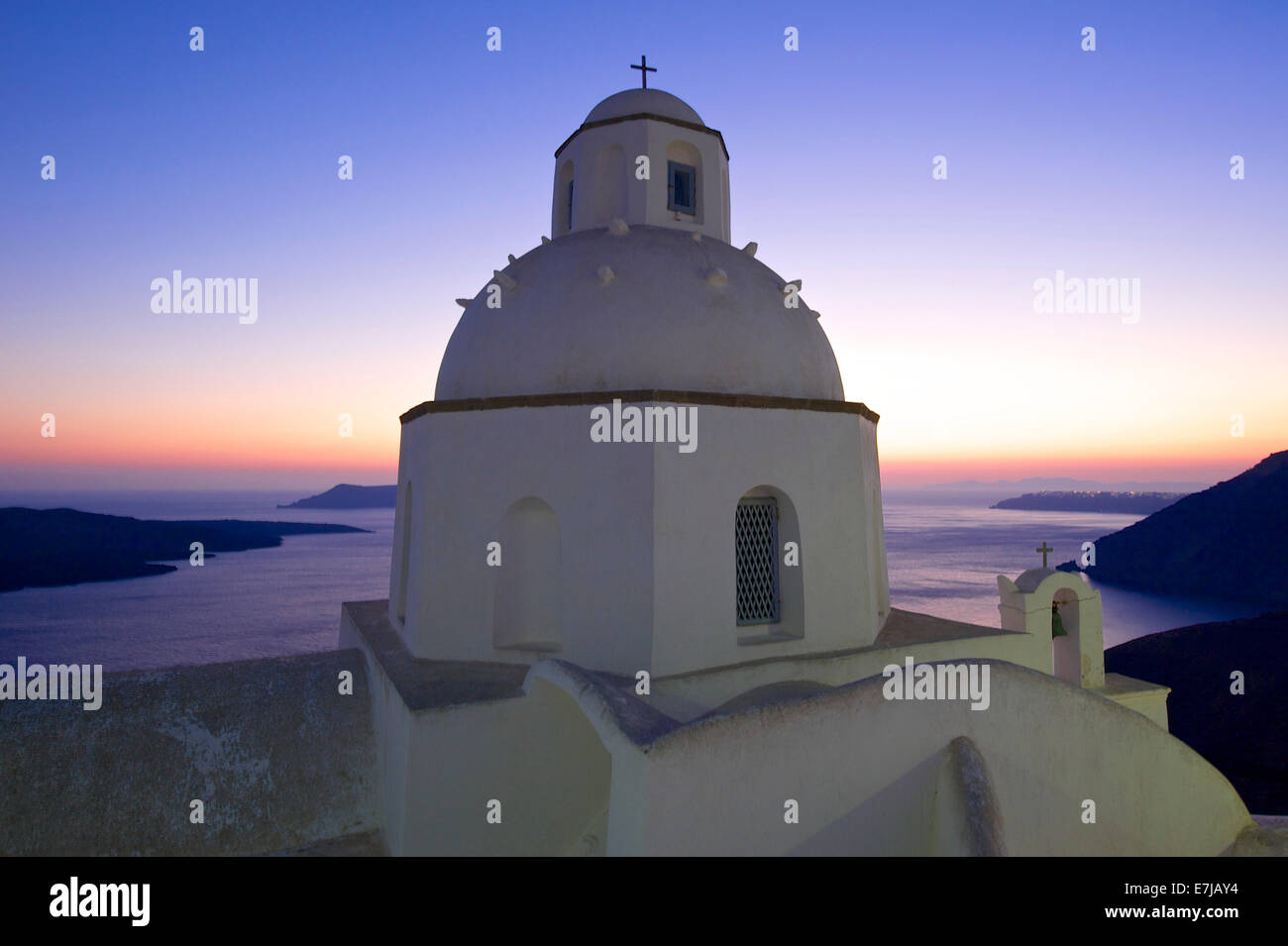 Agios Minas Church at sunset, Thira, Santorini, Cyclades, Greece - Stock Image