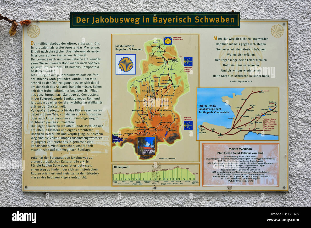 Map of the Way of St. James in Swabia, Weitnau, Bavaria, Germany - Stock Image
