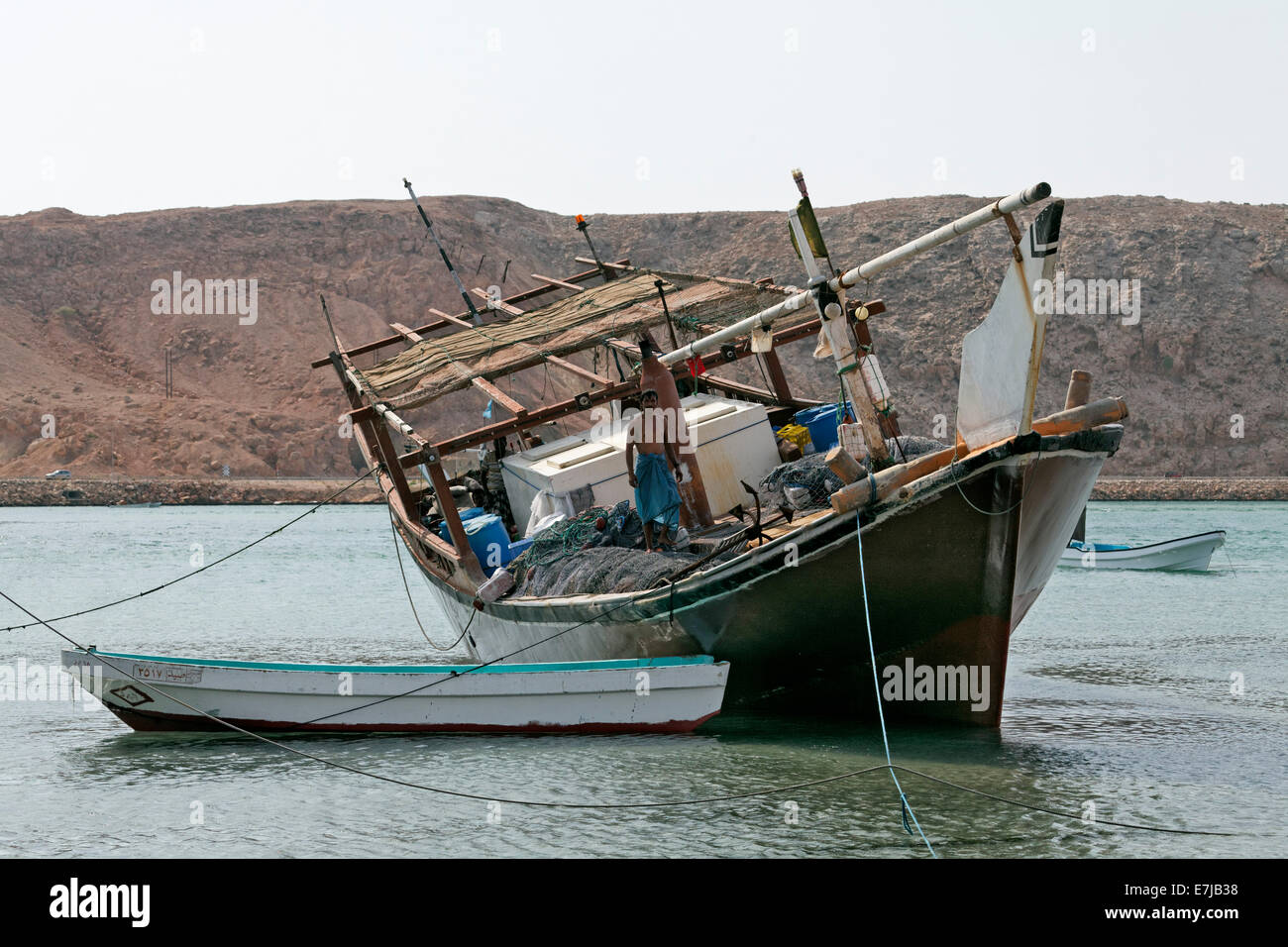 Dhow-ship in the harbour of Sur, Ash Sharqiyah province, Sultanate of Oman, Arabian Peninsula - Stock Image