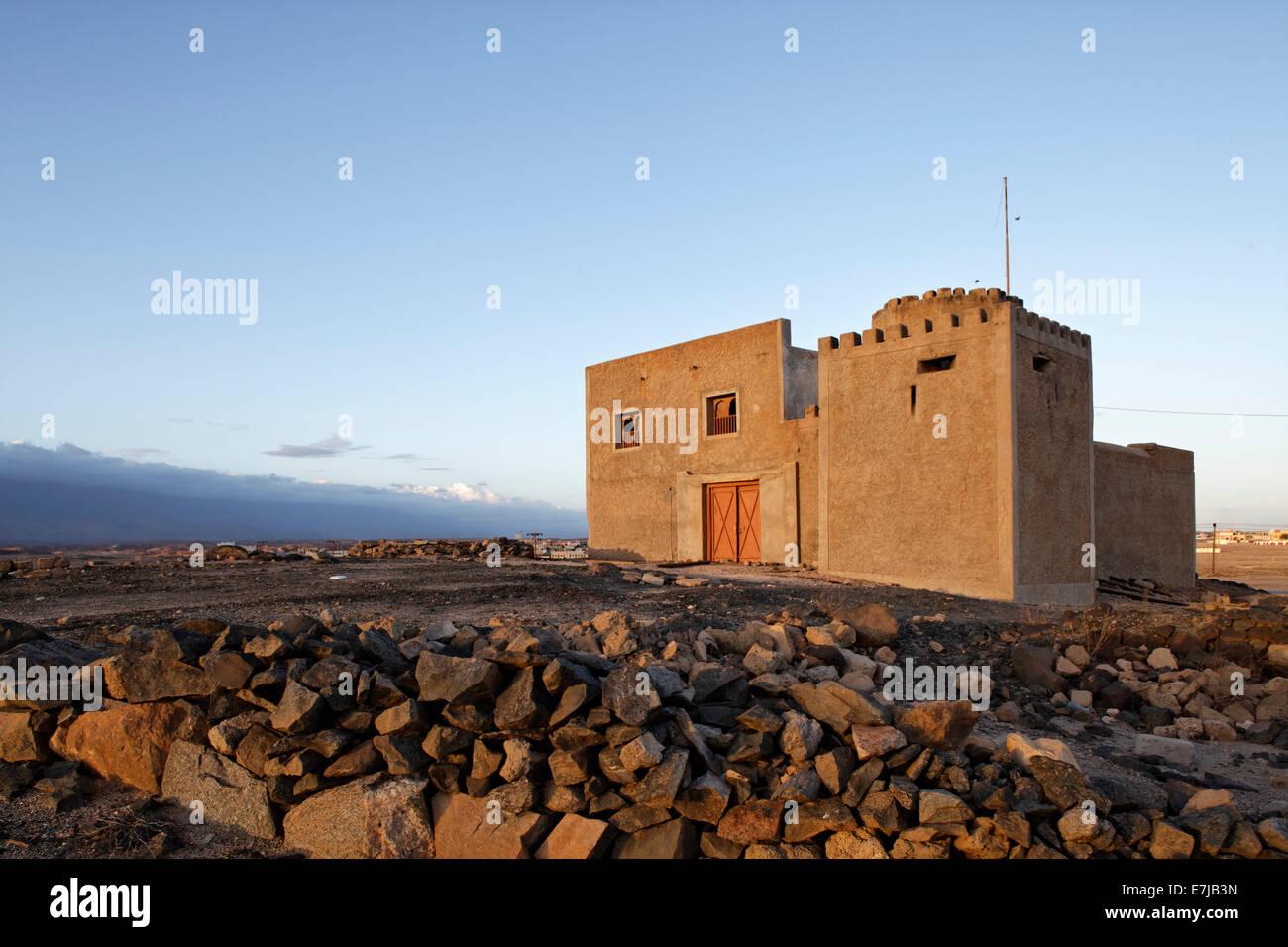 Fort, fortification, Mirbat, Dhofar region, Sultanate of Oman, Arabian Peninsula - Stock Image