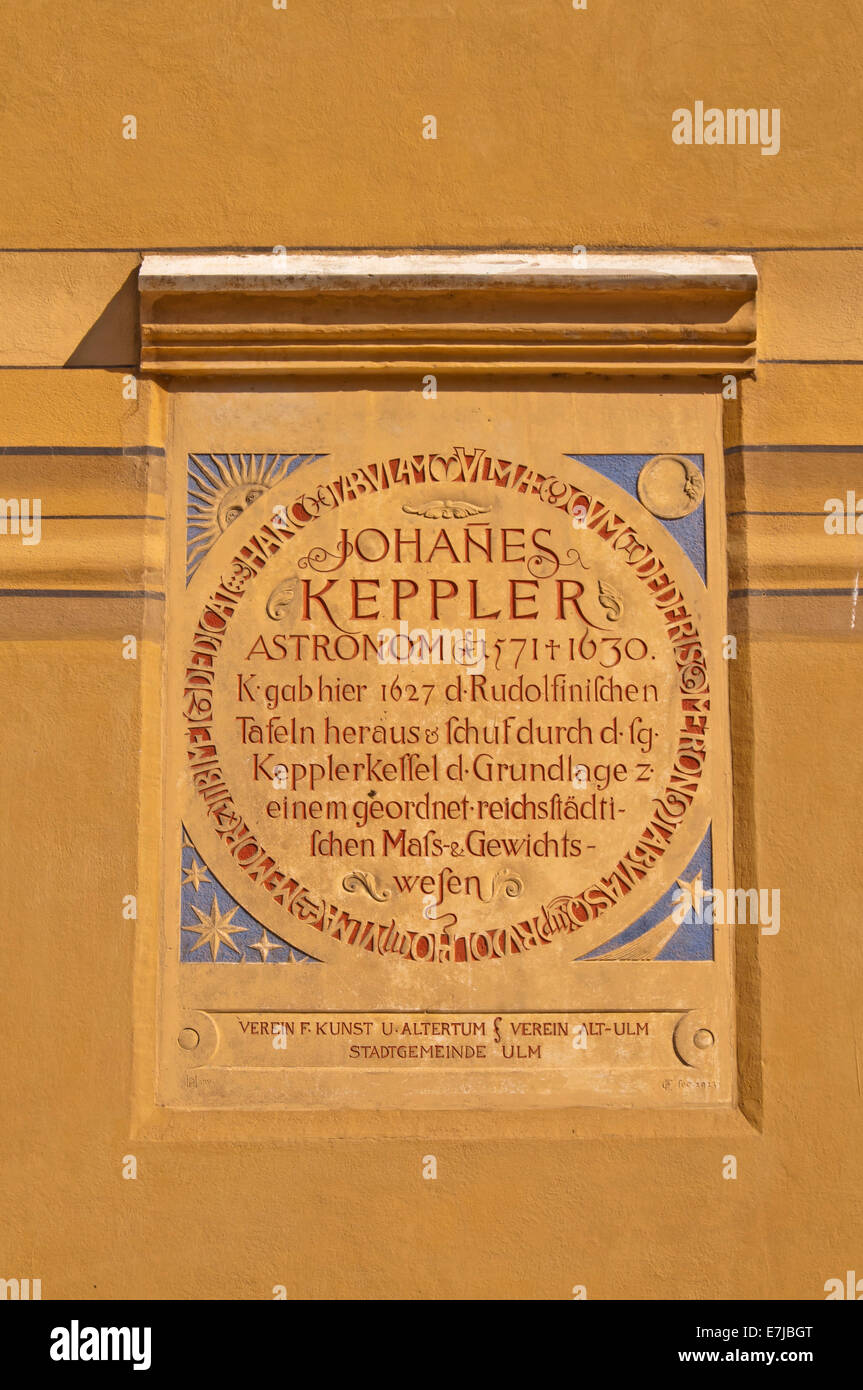 Plaque for the mathematician and astronomer Johannes Kepler on Ulm Town Hall, Ulm, Swabian Jura, Baden-Württemberg, - Stock Image