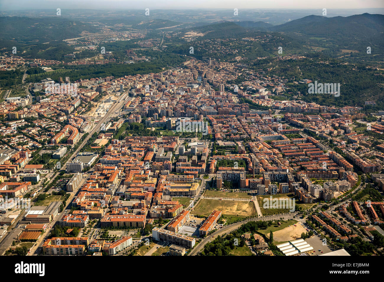 Aerial view, overview of the old town, Girona, Catalonia, Spain Stock Photo