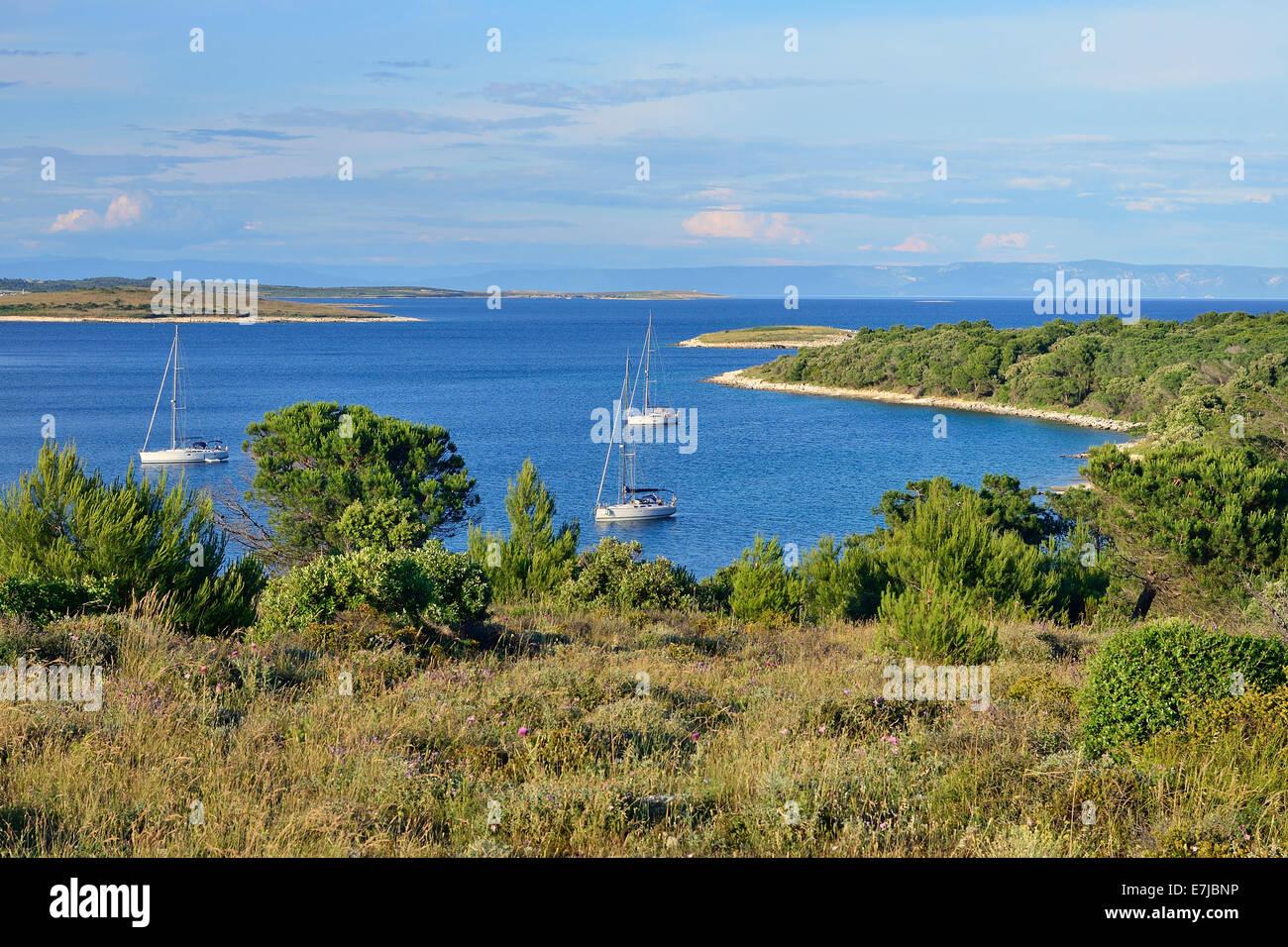 Yachts anchored in a bay, Cape Kamenjak, Premantura, Istria, Croatia - Stock Image