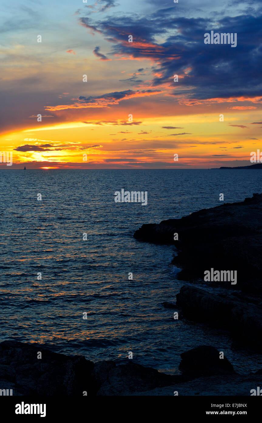 Sunset over the Adriatic Sea, Cape Kamenjak, Premantura, Istria, Croatia - Stock Image