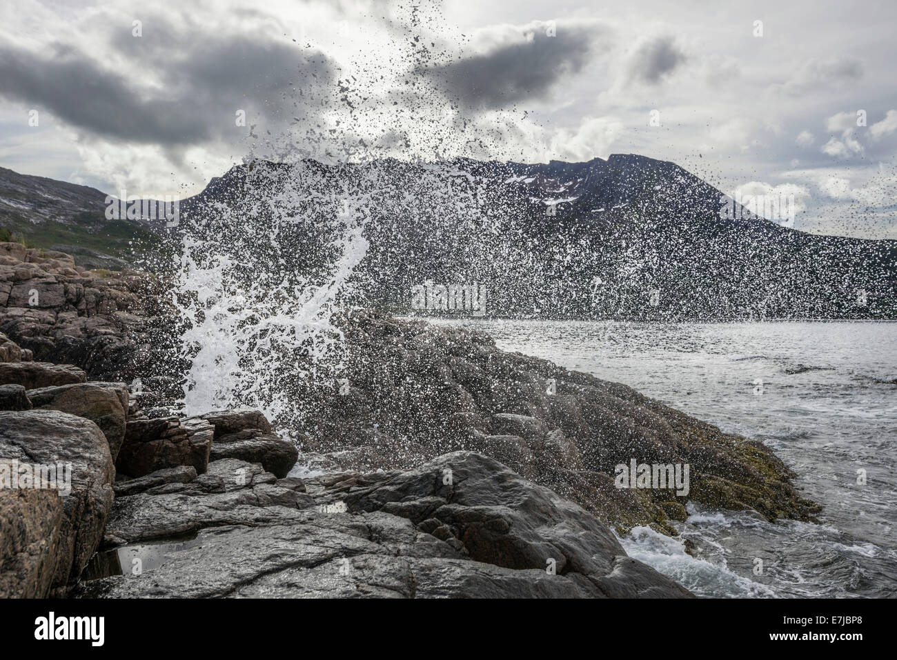 Blowhole on the coast, island of Senja, Troms, Norway - Stock Image
