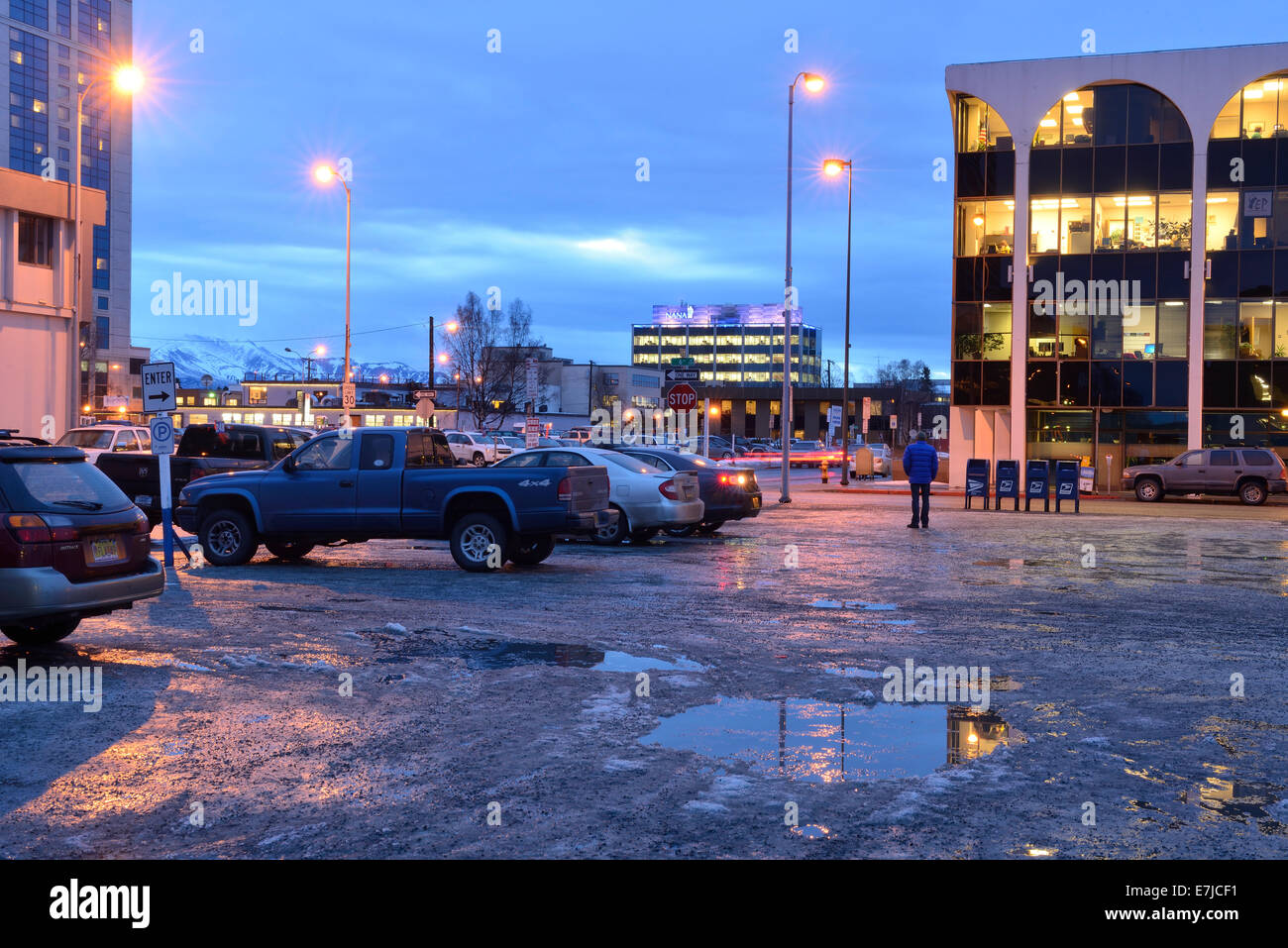 USA, United States, America, Alaska, Anchorage, square, dusk, city, night, downtown, Americana, parking lot, winter, - Stock Image