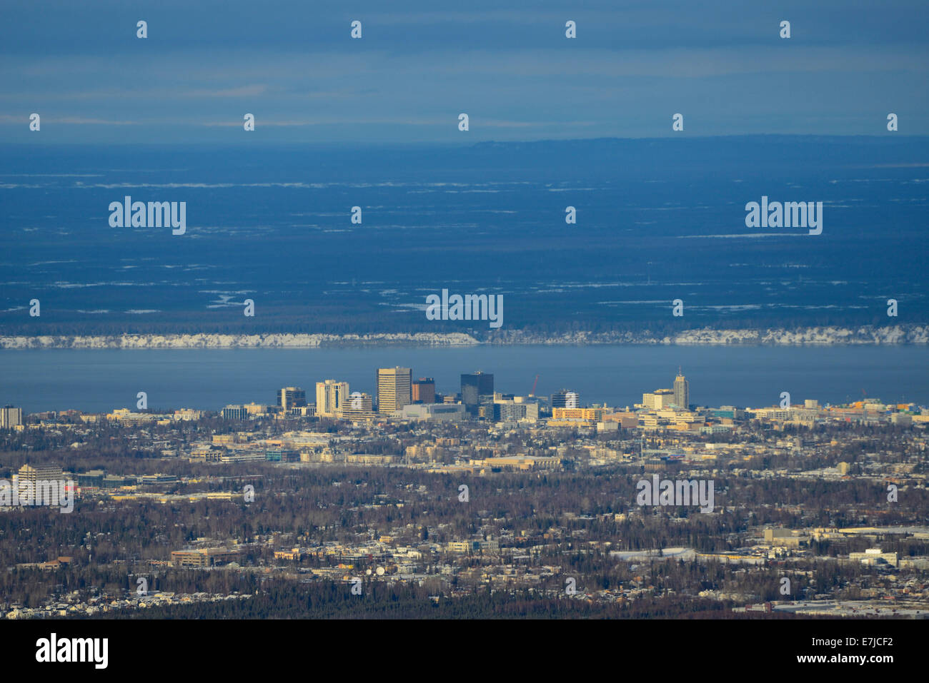 USA, United States, America, Far North, Alaska, Anchorage, city, overview - Stock Image