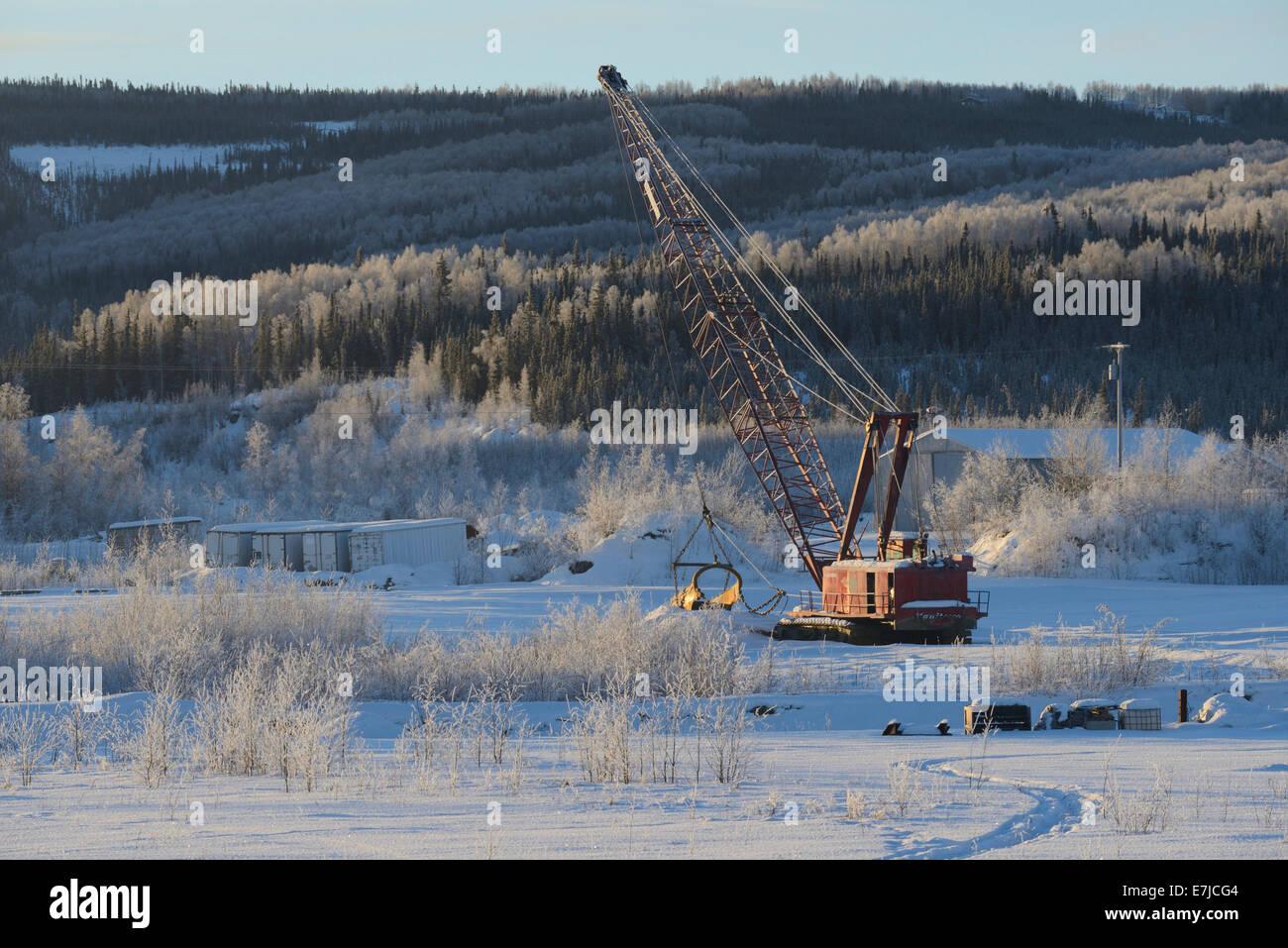 USA, United States, America, Alaska, Fairbanks, Far north, gold rush, mining, crane - Stock Image