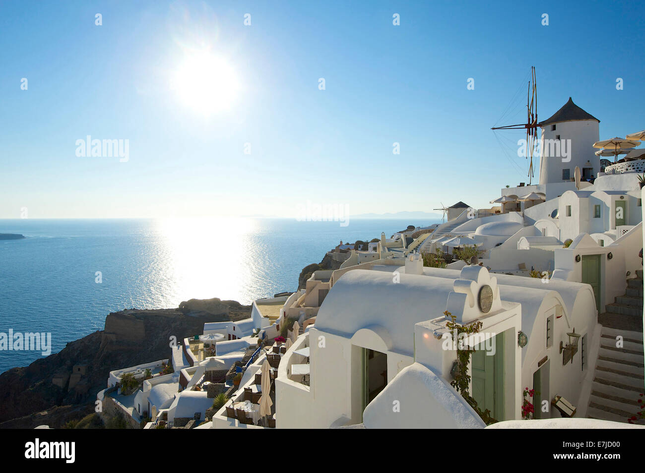 Greece, Europe, Cyclades, island, isle, islands, Greek, outside, Mediterranean Sea, day, nobody, Santorin, Santorini, - Stock Image