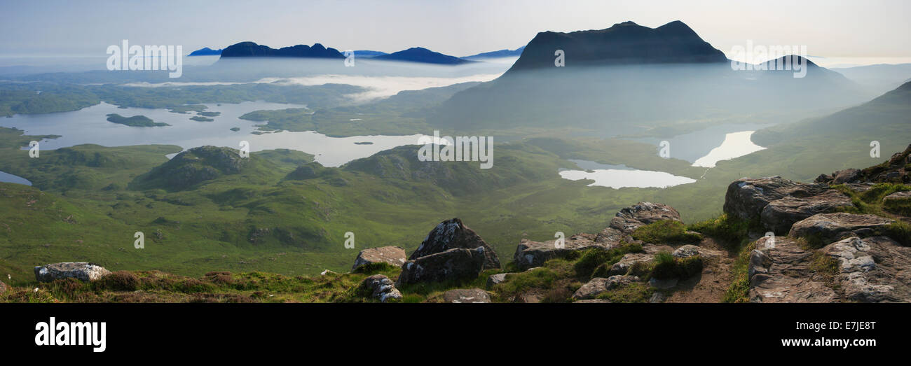 view, Stac Pollaidh, mountain, mountains, Cul Mor, mountains, water, summit, peak, Great Britain, Highland, highlands, - Stock Image