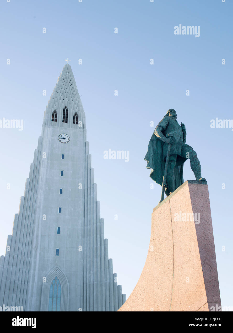 Monument, discoverer, explorer, Hallkrim, capital, island, Iceland, Europe, church, Northern Europe, Reykjavik, - Stock Image