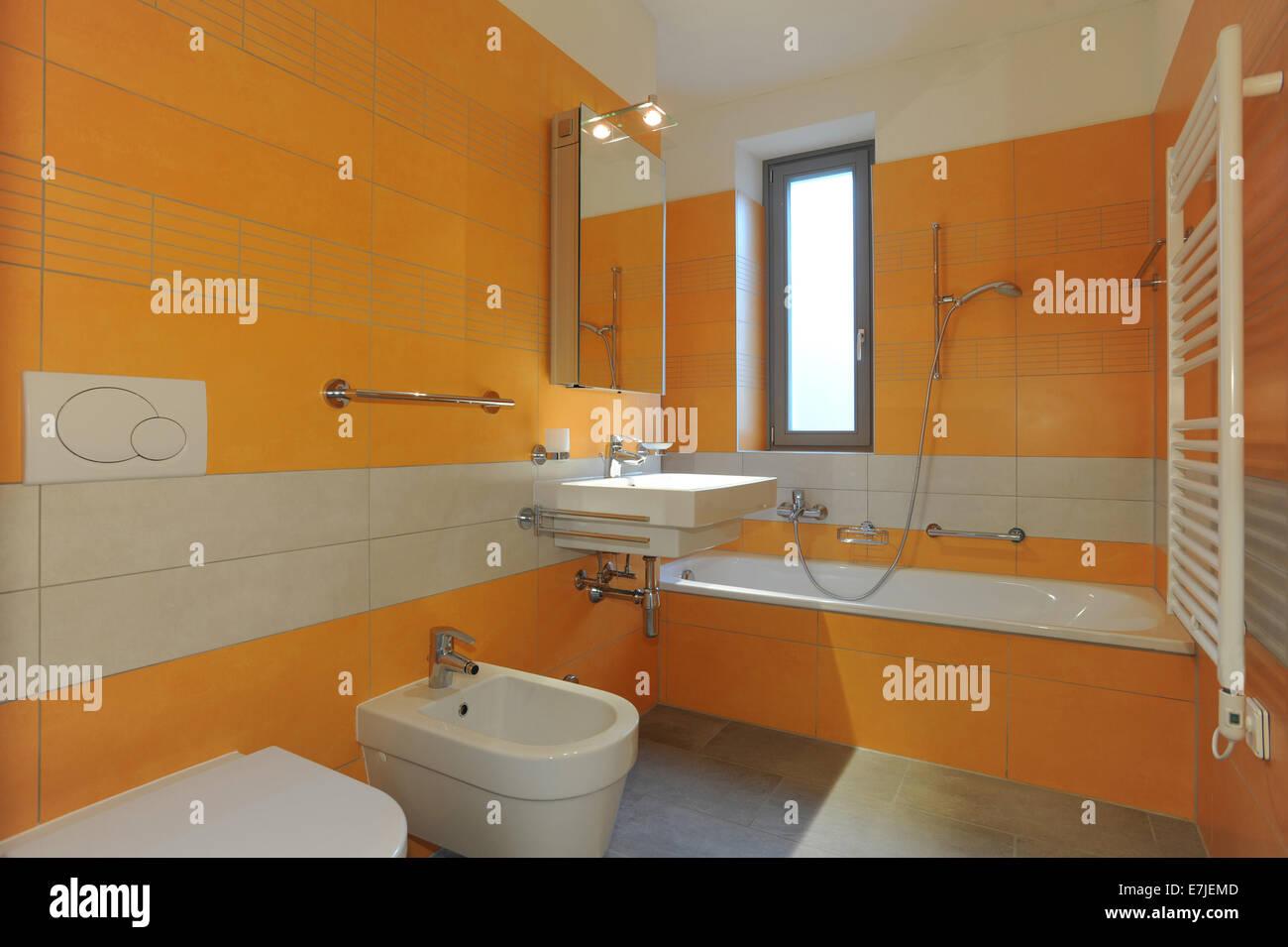 Apartment architectural architecture bath bathroom decorative luxury nobody real stone walls wc window orange