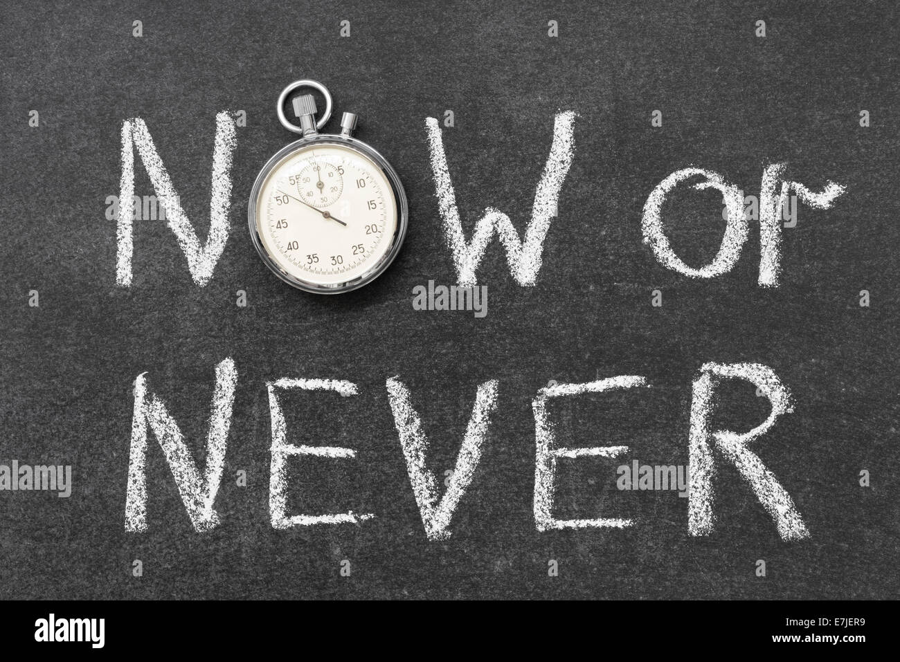 now or never concept handwritten on chalkboard with vintage precise stopwatch used instead of O - Stock Image