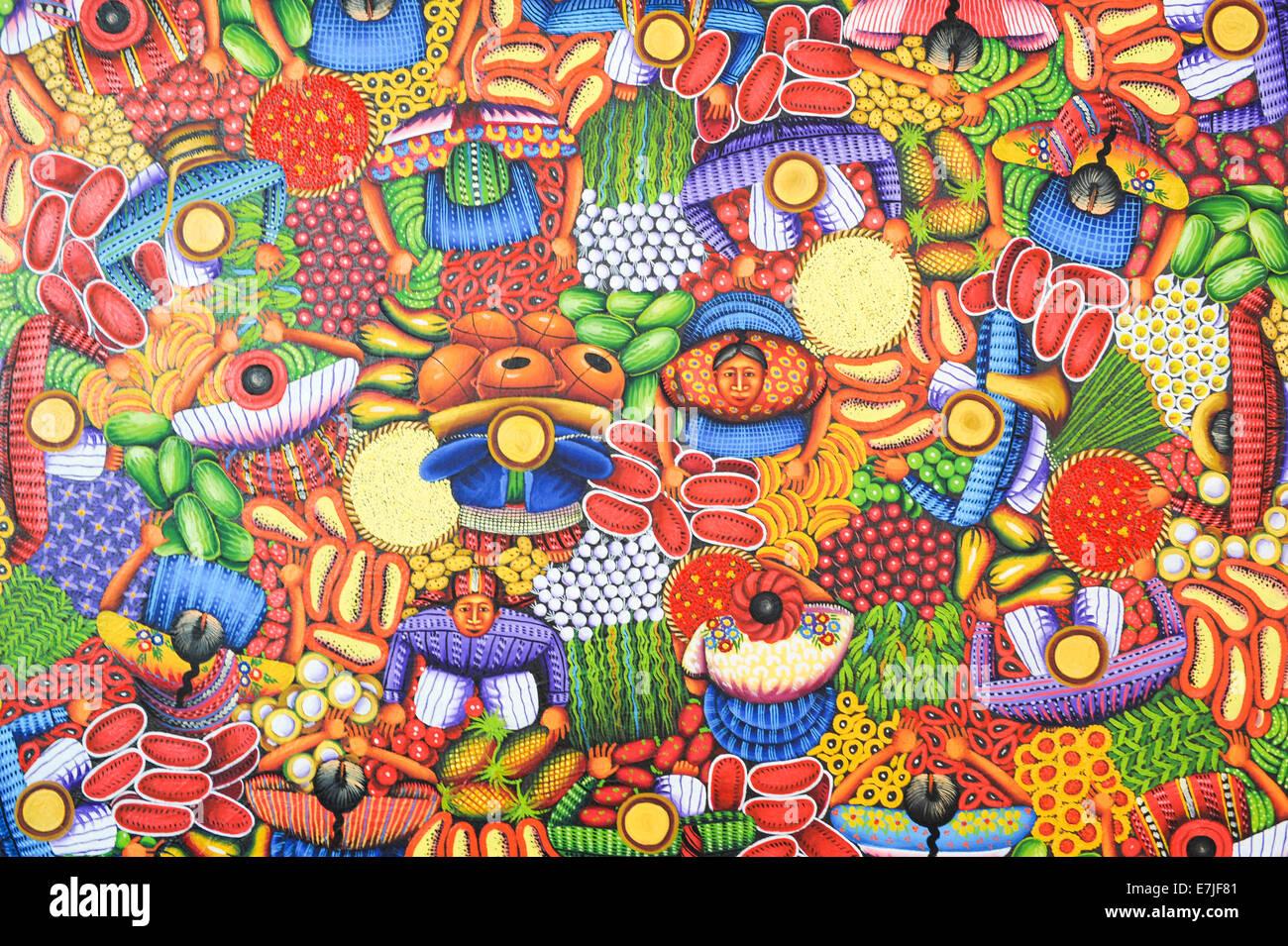 Guatemala, Central America, San Juan, artwork, Atitlan, colourful, la Laguna, Maya, painting, colourful, - Stock Image