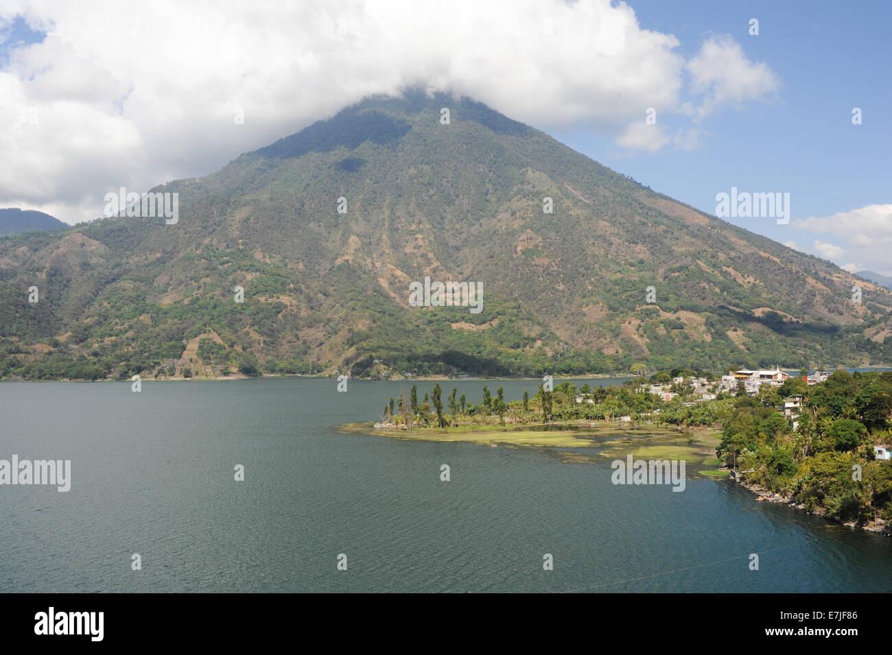 Guatemala, Central America, San Pedro, Atitlan, clouds, lake, nature, Santiago, scenic, trees, volcano - Stock Image