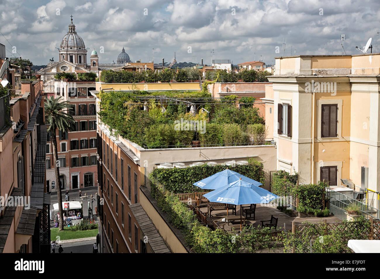 Accademia, academy, roof, Francia, France, garden, green, capital, Italy, Europe, Rome, terrace, villa Borghese, - Stock Image
