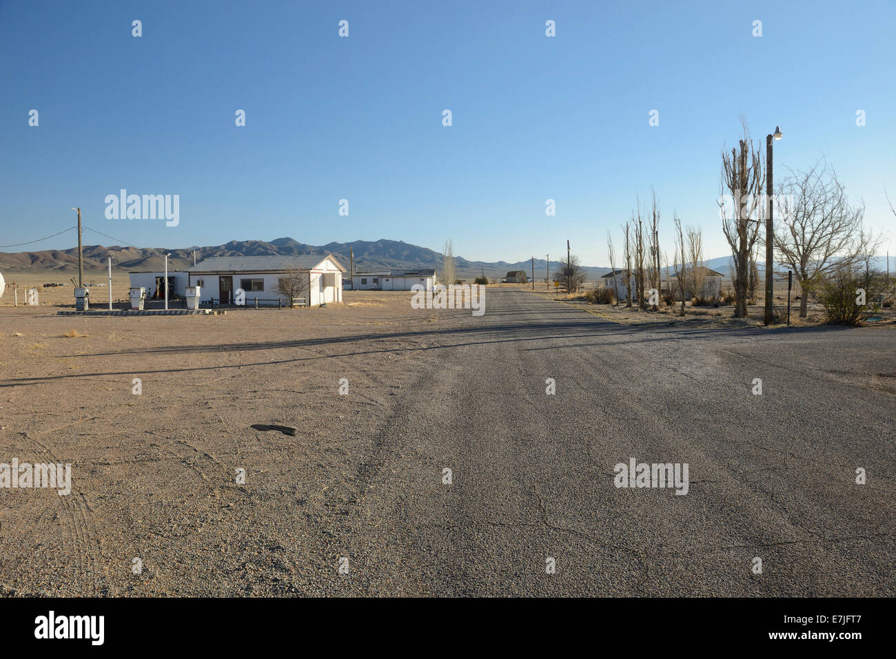 USA, United States, America, Nevada, Rachel, aliens, area 51, Ghost town, history, road, outback, america, town - Stock Image