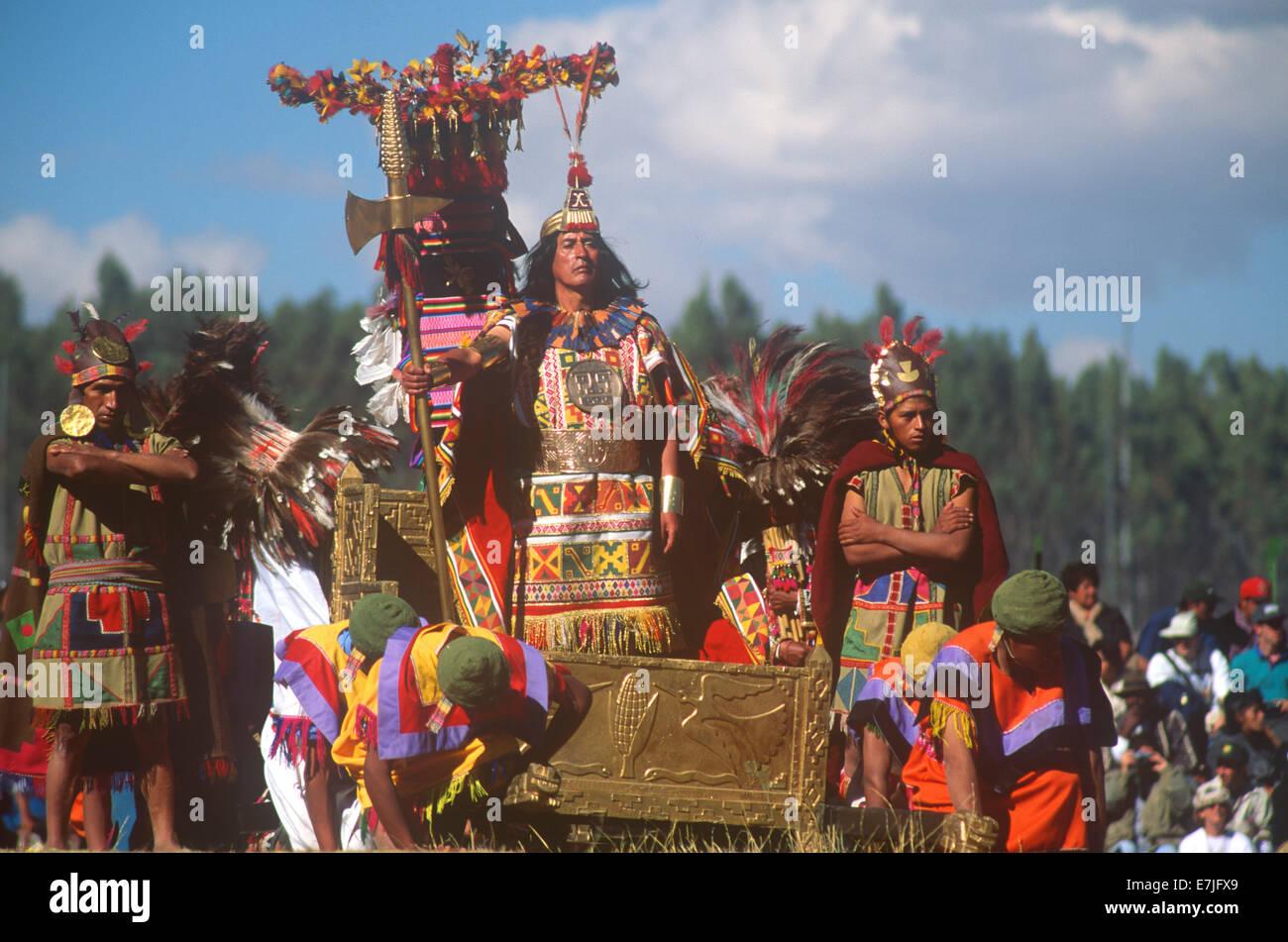 Inti Raymi, Incan, Cuzco, Cusco, Andes Mountains, Peru - Stock Image