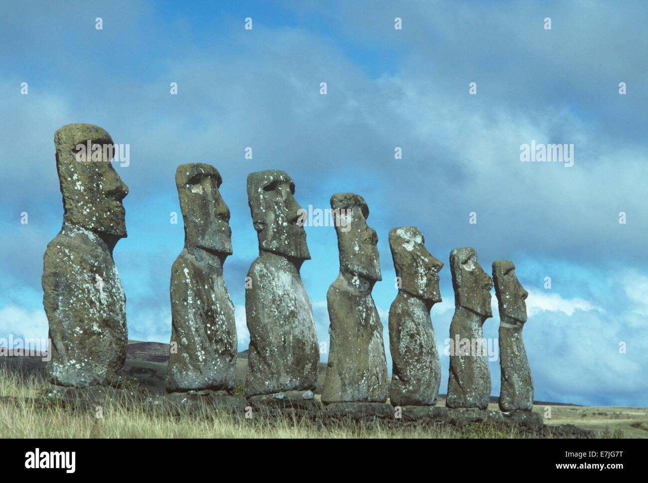Anakena Moais, Easter Island, Chile - Stock Image