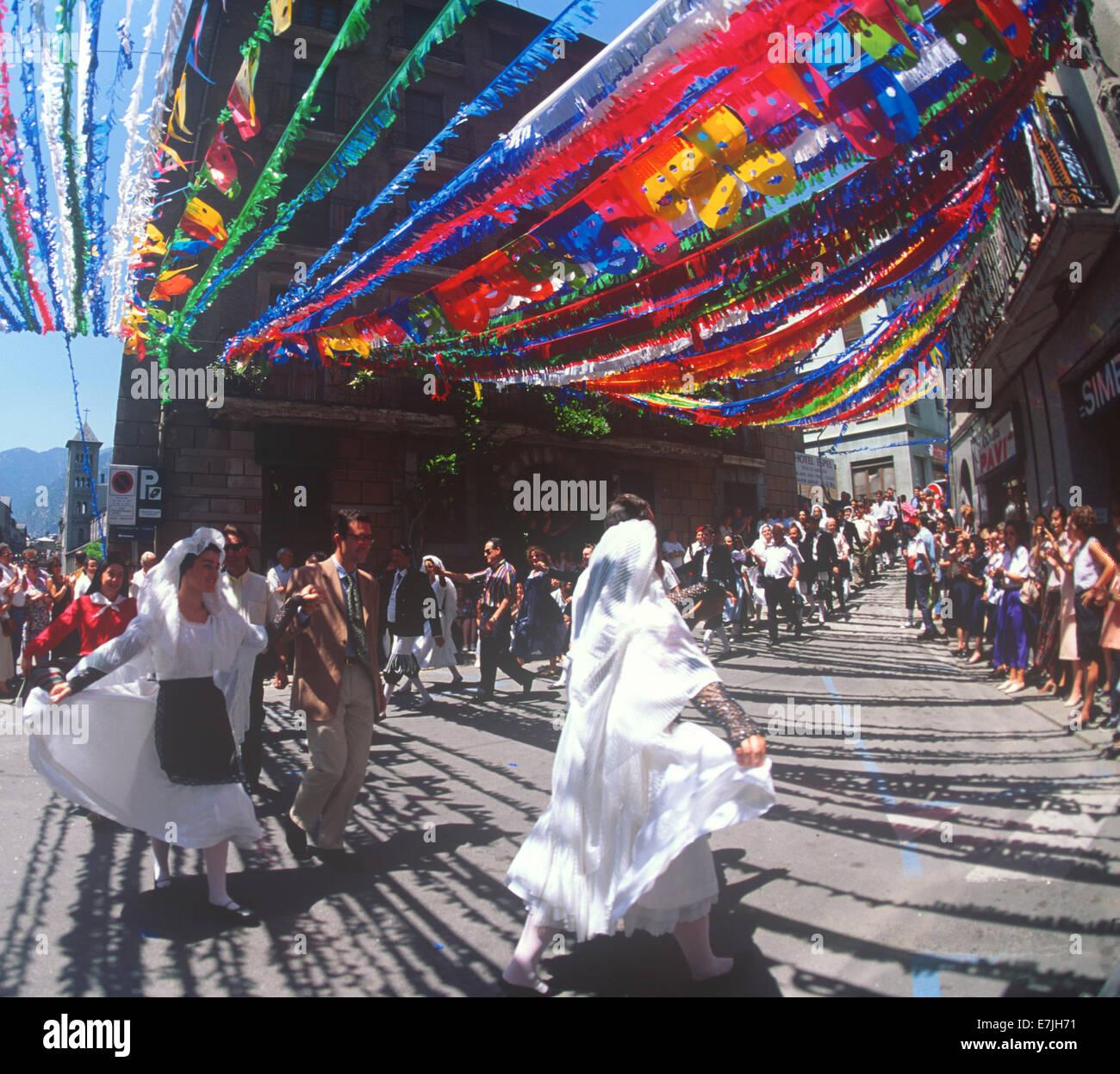 Folkloric Dancing, Escalder-Engordany, Andorra - Stock Image
