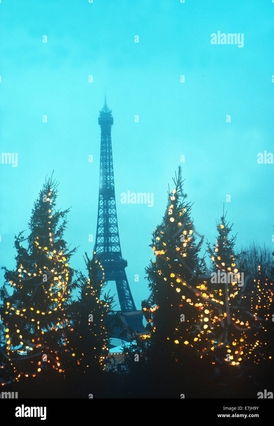 christmas trees eiffel tower paris france