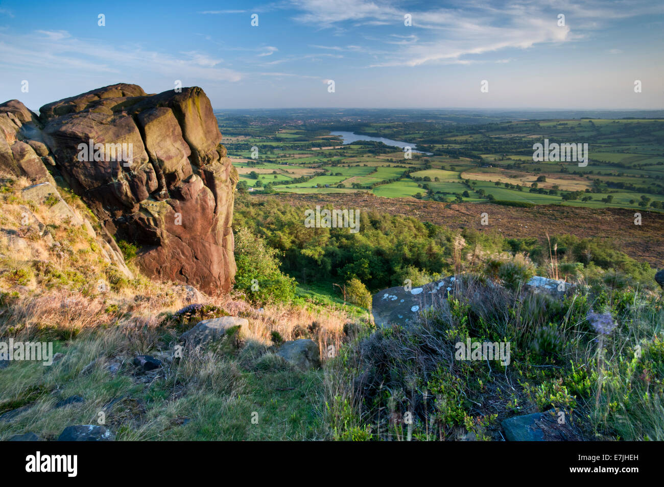 Tittesworth Reservoir viewed from The Roaches, Peak District National Park, Staffordshire, England, UK - Stock Image